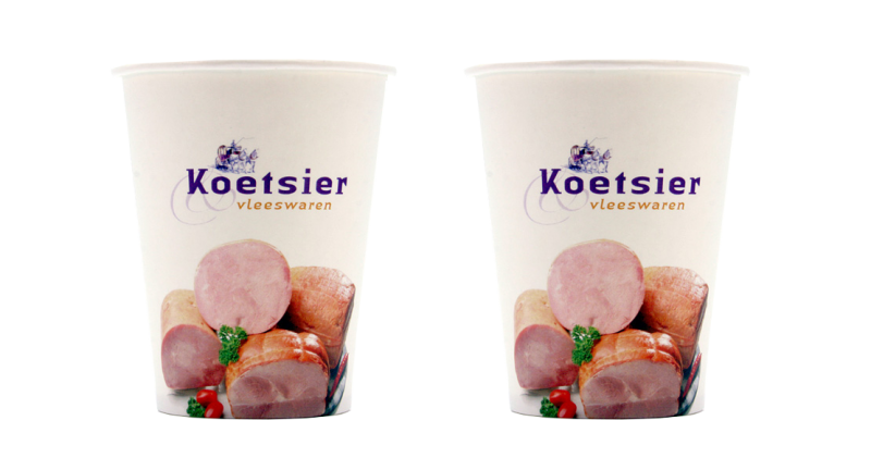 Koffiebekers wit karton bedrukt  (180ml)